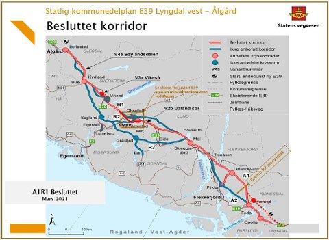 HAR KONKLUDERT: Kartet viser den endelige korridoren for E39 inkludert området ved Øygrei, hvor det må reguleres en trasé for R1 som avviker fra kommunedelplanen.