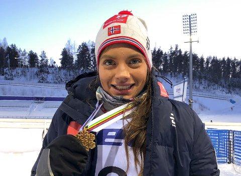 Kristine Stavås Skistad gikk Norges stafettlag for kvinner inn til et nytt gull i junior-VM søndag.