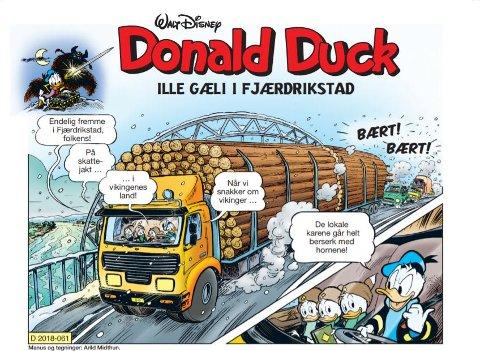 SPESIALUTGAVE FRA FREDRIKSTAD:      Donald Duck tegneserie «Ille gæli i Fjærdrikstad» - en  historie  på 12 sider -  gjorde stor suksess da bladet kom i november 2018. FBs anmelder ga terningkast fem. I ukens bibliotektips anbefaler Kirsti Knutsen barn å lese Donald.
