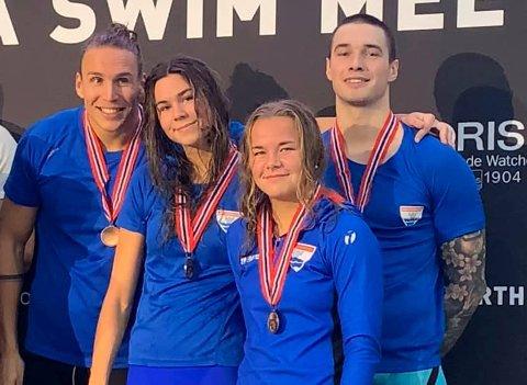 TOK BRONSE: Martin Hammer (til venstre) , Mathilde Hammer, Mia Gulbrandsen,  og Piotr Ludwiczak jr tok bronse i Stavanger.