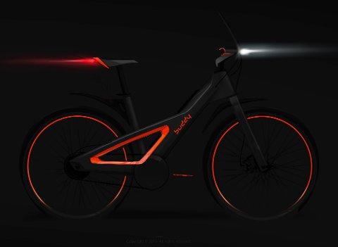 NY: Elsykkelen, som har fått navnet Buddy X1, skal ifølge skaperne ha fokus på sikkerhet og synlighet i trafikken. Eker Design har designet en sykkelramme med et triangel, som kan minne om en varseltrekant og som vil lyse opp i mørket ved hjelp av reflexteknologi.