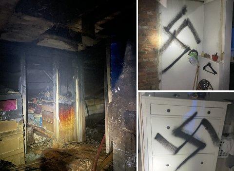Slik så det ut etter at brannvesenet hadde gjort sitt i Lislebyveien i sommer. Nazisymbolene skulle få politiet på ville veier.