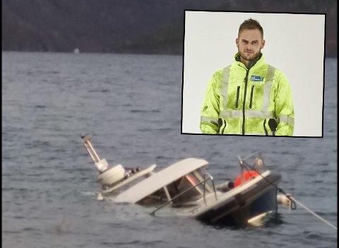 Slik så det ut etter at båten traff stein. Tommy Jørgensen i Rolf Jørgensen AS innfelt.