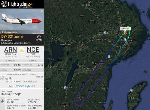 Bombetrusselen mot Norwegian-flyet fra Arlanda til Nice, gjorde at flyet måtte snu. Foto: Flightradar