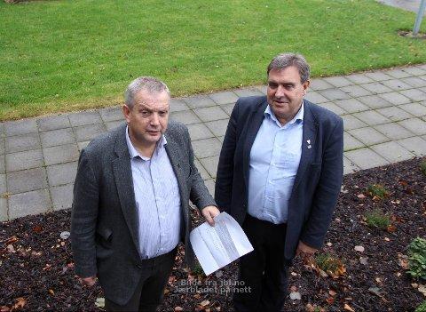 Protest: Mons Skrettingland (t.v.) og Reinert Kverneland har sammen med Ane Mari Braut Nese forfattet et skriv til fylkesordføreren. Nese er bortreist, og derfor ikke med på bildet.