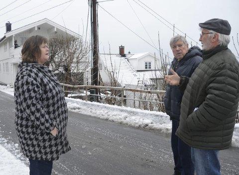 Parkeringsplan: Øyvind Olsen (t.h.), leder i hovedutvalg for samfunn, informerer Gunn Nicolaysen Gundersen og Arnstein Hansen i Bekkedalsveien om den nye parkeringsplanen.