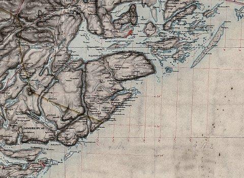 Kart over Levangsheia og Kragerø fra 1850.