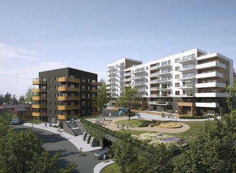 LANGBØLGEN 39:  Sett fra Mikrobølgen blir det to nye bygg med felles hage på bakkeplan,og en takterrasse i 7.etasje på det hvite bygget. Illustrasjon: TAG arkitekter