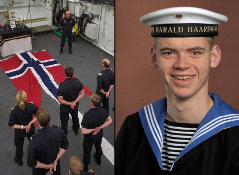 MINNESTUND: KV Nordkapp avholdt minnestund for besetningen. Sindre Saltveit (19)  er antatt omkommet etter at han trolig falt over bord fra kystvaktskipet «Nordkapp» lørdag.