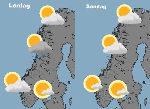 – Siste prognose for helgeværet i Norge. På søndag ser det ut til å bli fint vær i hele landet, På tide med en teltur?, foreslår Meteorologisk institutt på twitter