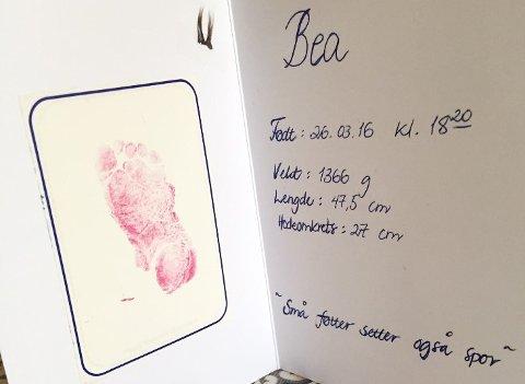 LITA: 47,5 centimeter rakk Bea å bli før hun døde i mors liv.