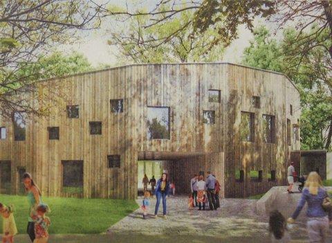 SIRKEL: Arkitekter fra Tegn_3 skisserer her et barnehagebygg med sirkulær form i to plan med skånende tak.