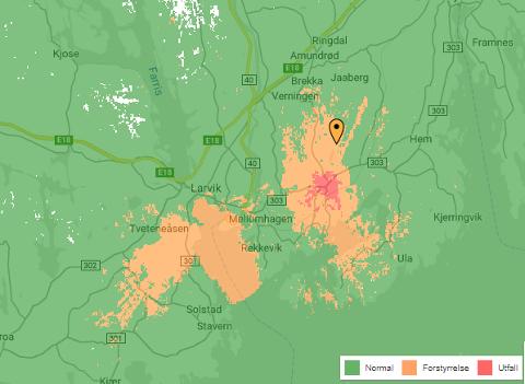 DEKNINGSFEIL: Telia har nedetid på mobildekningen i deler av Larvik.