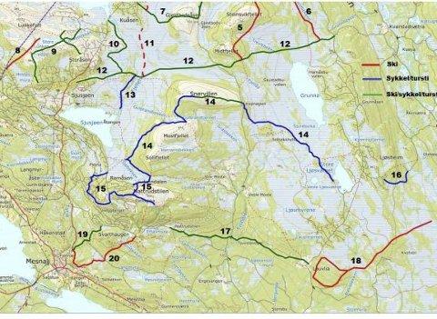 Sjusjøen Sør: Slik ser man for seg utviklingen av løypenettet i området Sjusjøen Sør/Natrudstilen/Mesnali.