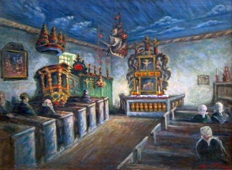 Dette maleriet fra Bønsnes er blant bildene i Hole historielags kalender.