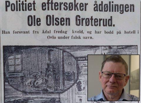 ETTERLYST: Torsdag 27. september opplyste Ringerikes Blad at Ole Olsen Grøterud var etterlyst for drapet. Da bragte avisen også en illustrasjon fra landhandelen der mordet ble utført.
