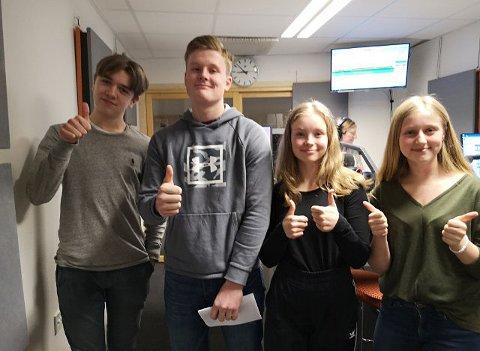 Toppresultat: Denne gjengen scoret 11 av 12 poeng på lokaluttaket. Her i studio i NRK Buskerud.