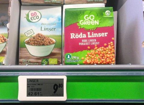FINN EN FEIL: Prisen per kilo for to linsetyper er oppgitt å være tilnærmet lik. Det stemmer ikke.