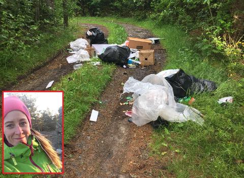 KASTET SØPPEL: Noen valgte å kaste søppelet sitt her, det fikk  Lene Østby Furu til å reagere.