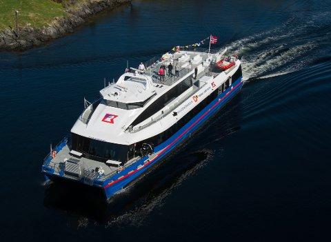LIK: Den elektriske hurtigbåten som frå neste sesong av skal frakta turistar på Lysefjorden for Rødne er lik systerskipet «Rygerdronningen», som begynte å trafikkera Lysefjorden i 2018.