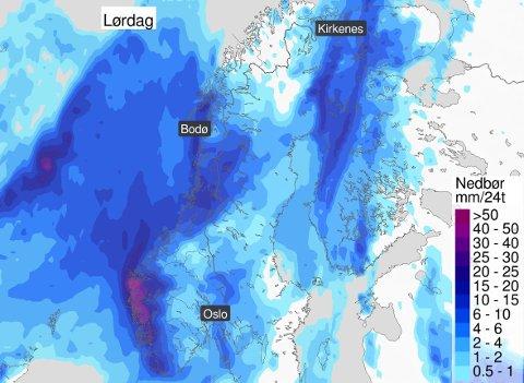 ØS PØS: Det blir en regnfull lørdag over nesten hele Norge.