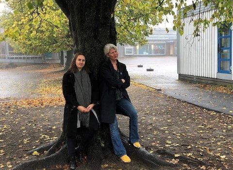 LEKSEFRI? Venstre-politikerne Julia Kristoffersen (til venstre) og Suzy Haugan ønsker mindre leksemas i Tønsberg-skolen.