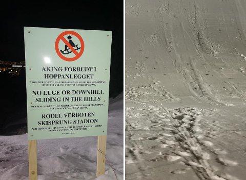 RAMPONERT: Slik så bakken ut da de unge hopperne i Tromsøhopp/Tromsø Skiklub skulle starte treningen onsdag kveld.  Økten ble avlyst på grunn av de omfattende skadene.