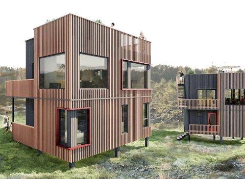 Spesielle hytter: Slik skal hyttene på Øysang se ut, ifølge tegningene til Lindal Hus. Hyttene skal bestå av fire moduler som produseres i bedriften, og som kan monteres raskt til ei ferdig hytte på stedet. Målet er at en visningshytte skal stå klar før sommeren.