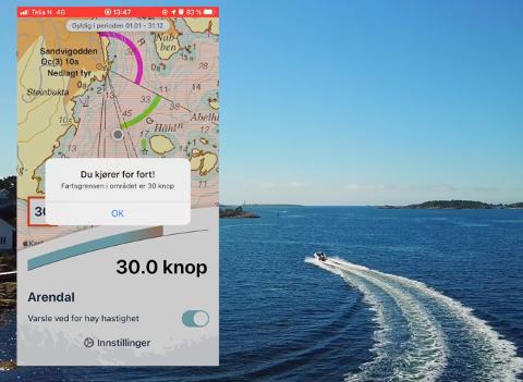BåtFart er en ny tjeneste fra Kystverket. I appen får du til enhver tid informasjon om farten du har – samt varsel når du kjører for fort.