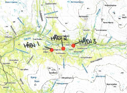 TRE STASJONER: Tre stasjoner skal gi strøm til hytter og setrer ved Håen. Kilde: Holtålen kommune