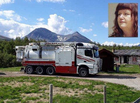 HANDLET RASKT: Heidi Hagesveen Hagen (innfelt) oppdaget brannen i Folldalsveien og varslet beboere og brannvesenet. Ivar Lien, daglig leder i Østerdal Miljø AS, brukte vann fra tankbilen til å kjøle ned taket før brannvesenet kom fram.