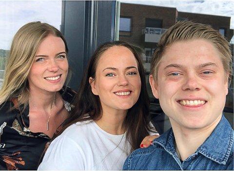 TREKLØVER: Brage Tellebon (fra høyre) og Ingrid Bjørnsmoen Næss er fra Tynset, mens Jennie Olsson er svensk og har bodd i Norge noen år. De studerer alle i Oslo.
