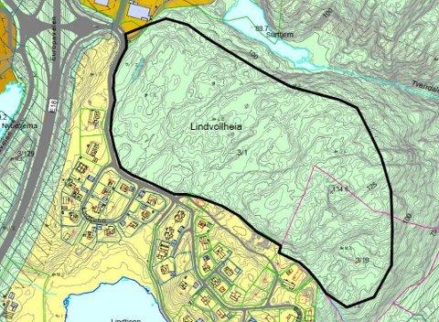 Nord for Lindvollheia og Lindtjenn ligger dette området som ifølge kommunestyret og administrasjonen egner seg godt til boligbygging.