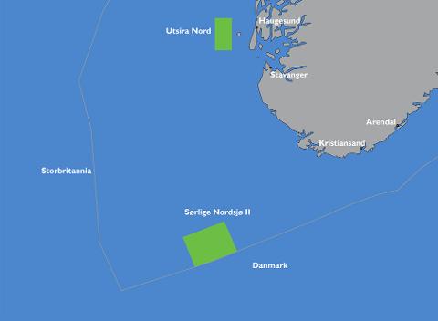 Olje- og energidepartementet opner områda Utsira Nord og Sørlige Nordsjø II for søknadar om fornybar energiproduksjon til havs. Foto: NVE