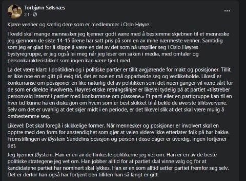 Et utdrag fra Torbjørn Sølsnæs' Facebook-innlegg mandag.