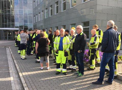 Over hundre BKK-ansatte demonstrerte mot ledelsens kuttplaner torsdag.