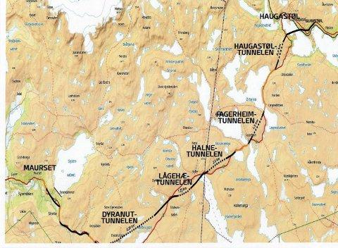 FIRE TUNNELER: Fire tunneler skal gjøre Hardangervidda mer vintersikker. Man tar sikte på å starte med Dyranuttunnelen, og bygge etappevis.ILLUSTRASJON: HARDANGERVIDDATUNNELENE