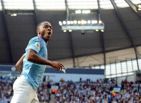 Raheem Sterling jubler etter scoringen sin mot Totteham i forrige serierunde. Han har scoret fire mål i de to første Premier League-kampene for City.