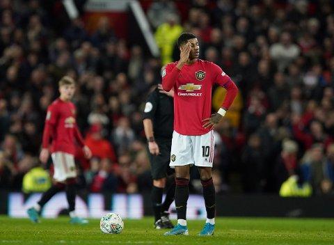 Manchester United's Marcus Rashford har kun scoret ett mål på de tre siste kampene. Vi tror Ole Gunnar Solskjær's menn kan få problemer mot Norwich. (AP Photo/Jon Super)