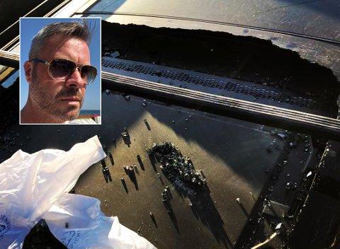 EKSPLODERTE: Familien fra Larvik satt i bilen da det plutselig smalt. – Vi kunne ha skåret oss, fått glass i øynene, eller i verste fall kjørt av veien, forteller Morten Ludvigsen. Foto:Privat