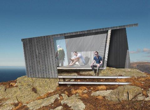 Teikning av hytta som kan bli ferdigstilt i løpet av mai måned.