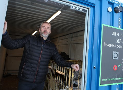 NESTEN EIN I VEKA: I 2019 sende Elkjøp avgarde 48 slike tettpakka konteinarar med el-avfall til gjenvinning på Austlandet. Det er nesten ein i veka.