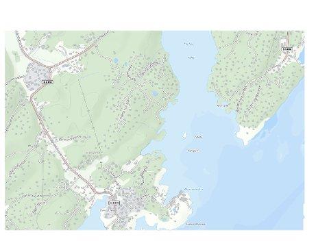 Område: Det er i området midt på, nederst i bildet, det skal komme et anvisningsskilt til Marnetveien 43-51 i Øyenkilen.