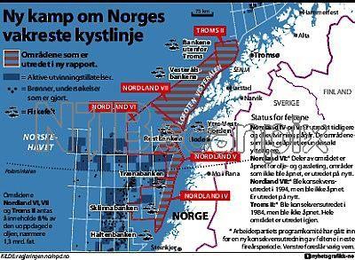 Arbeiderpartiets programkomité har gått inn for en ny konsekvensutredning av feltene Nordland VI, VII og Troms II i den neste fireårsperioden. Partiet... Credit: Nyhetsgrafikk