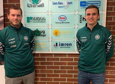 NYE TRENERE: Simon Stapnes (t.h) og Oddbjørn Braut (t.v) er de nye trenerne til Varhaug IL. Førstnevnte er hovedtrener.