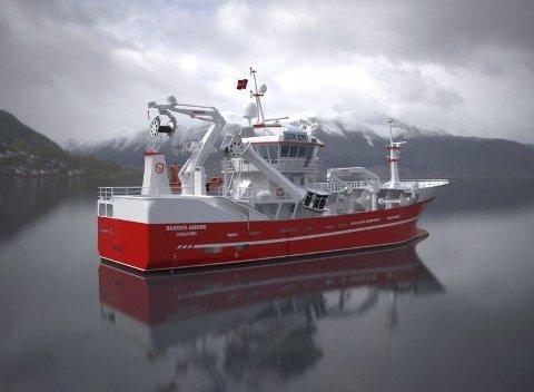 SANDER ANDRE: I september 2017 kommer denne båten til Sørvågen. Bak byggingen står rederiet Mirsel AS. – Nå er tiden inne for å investere. Det er gode tider i fiskerinæringen, sier reder Kristian Benonisen.