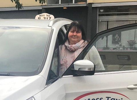 KLAR FOR FILM: Grethe Kolbu, daglig leder i Moss Taxi.