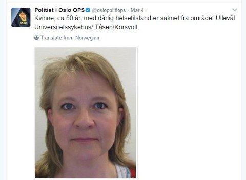 FORSVANT FRA ULLEVÅL: Lørdag la politiet ut denne etterlysningen på Twitter i håp om tips slik at den savnede kvinnen ville komme tilrette. FOTO: POLITIET