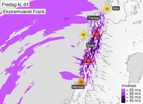 KRAFTIG VIND: Enkelte steder er det ventet ekstremt kraftige vindkast under ekstremværet Frank.