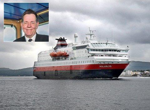 """- MEN HAN E NU NOKKA VIND: Hermod Nilsen er kaptein på MS """"Polarlys"""", som torsdag kveld seilte rett gjennom stormen."""